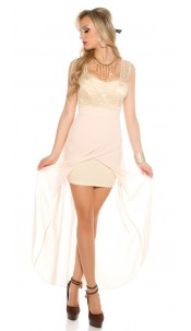 Sexy KouCla High Low Evening Dress with Lace Beige