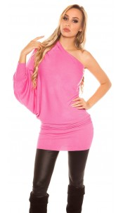 Sexy onesleeve-batlook-Longsweater? Minidress? Fuchsia