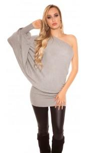Sexy onesleeve-batlook-Longsweater? Minidress? Grey