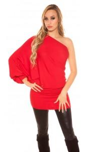 Sexy onesleeve-batlook-Longsweater? Minidress? Red