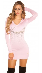 Sexy KouCla long jumper / dress with studded print Pink