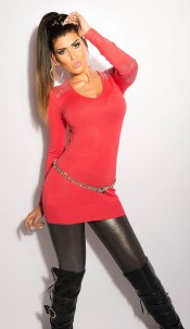Sexy KouCla longsweater with glitterstones Coral