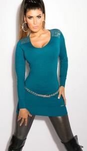 Sexy KouCla longsweater with glitterstones Petrol