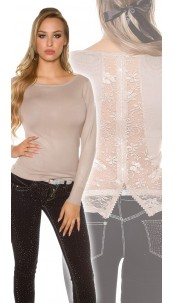 Sexy KouCla sweater with rhinestones, lace and zip Beige