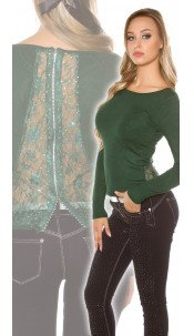 Sexy KouCla sweater with rhinestones, lace and zip Green