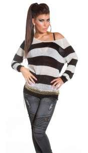 Sexy KoUCla striped oversize knit sweater Whiteblack