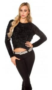 Sexy KouCla high low soft sweater Black