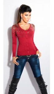 Sexy KouCla cardigan with sequins Bordeaux