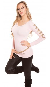 Sexy KouCla longsweater with sequin-applications Pink