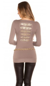 Sexy KouCla longs jumper with sequins Cappuccino
