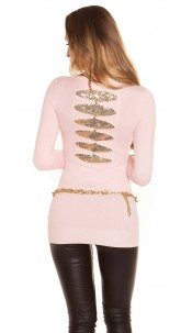 Sexy KouCla longs jumper with sequins Pink