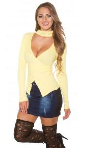 Sexy KouCla-pullover w. rhinestone standup collar Yellow