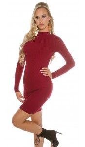 Sexy Basic-Ripp-mini dress with turtleneck Bordeaux
