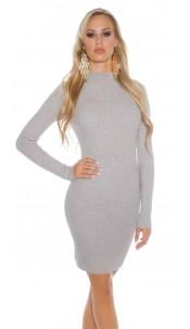 Sexy Basic-Ripp-mini dress with turtleneck Grey