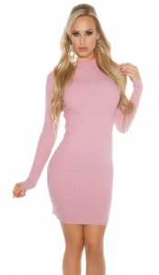 Sexy Basic-Ripp-mini dress with turtleneck Rose