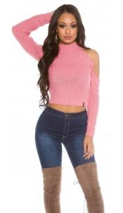 Cold Shoulder Crop sweater Rose