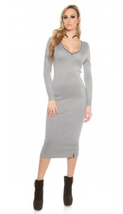 Maxi knit dress V-Cut Grey