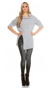 Oversize turtleneck knit jumper Grey