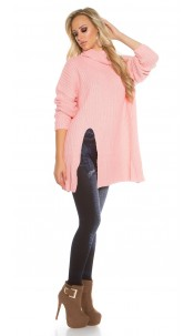 Oversize turtleneck knit jumper Rose