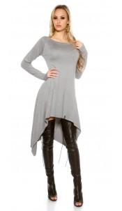 Sexy KouCla High Low Knit Dress Grey