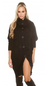 Trendy KouCla turtleneck XL-cardigan Black