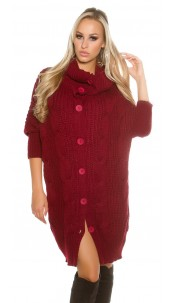 Trendy KouCla turtleneck XL-cardigan Bordeaux