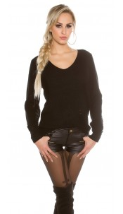 Knit sweater Destroyed Look Black