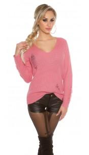 Gebreide Sweater Destroyed-Look Rose
