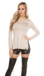 Trendy KouCla glitter threads sweater Beige