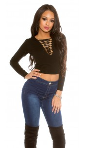 laced V-cut sweater Black