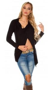 Trendy KouCla cardigan asymmetric Black