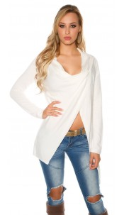 Trendy KouCla cardigan asymmetric White