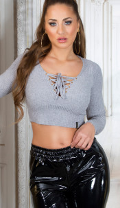Sexy KouCla crop ribbed jumper with lacing Grey