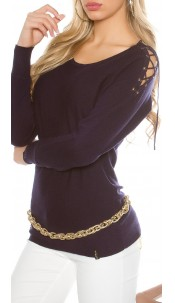 jumper with shoulder lacing Navy