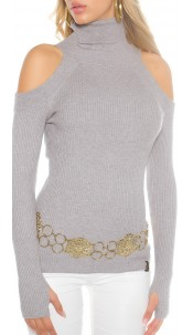Trendy KouCla Coldshoulder turtleneck + thumbhole Grey