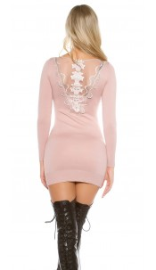 Sexy KouCla knit dress with rhinestones and lace Antiquepink