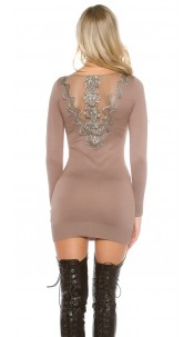Sexy KouCla knit dress with rhinestones and lace Cappuccino