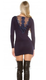 Sexy KouCla knit dress with rhinestones and lace Navy