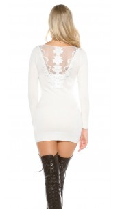 Sexy KouCla knit dress with rhinestones and lace White