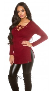 Knit Sweater with XL V-Cut laced Bordeaux