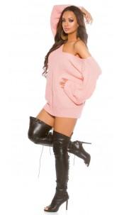 Oversize XL V-Cut knitted jumper Rose