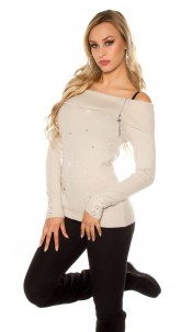 Sexy Koucla pullover with rhinestones and pearls Beige