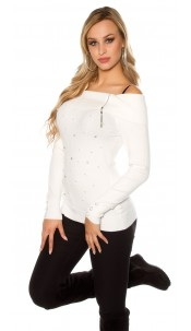 Sexy Koucla pullover with rhinestones and pearls Cream