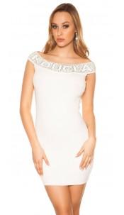 Sexy Koucla fineknitted dress with rhinestones White