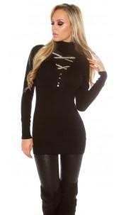 Trendy pullover met strass steentjes en strik zwart