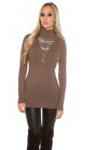 Trendy pullover met strass steentjes en strik cappuccino