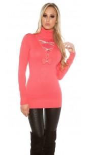 Trendy pullover met strass steentjes en strik koraal-kleurig