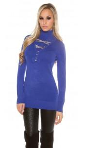 Trendy pullover met strass steentjes en strik koningsblauw