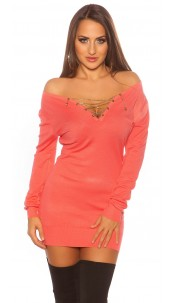 Trendy Koucla pullover with chain and rhinestones Coral
