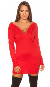 Trendy Koucla pullover with chain and rhinestones Red